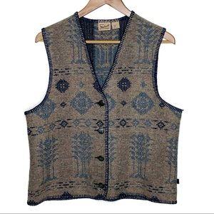 Vintage Classic Woolrich Blue Tan Aztec Vest M/L